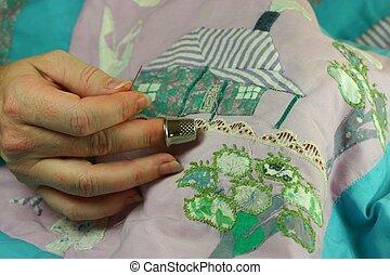 Hand sewing patchwork quilt details (request)