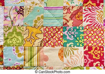 patchwork, feito à mão, colcha