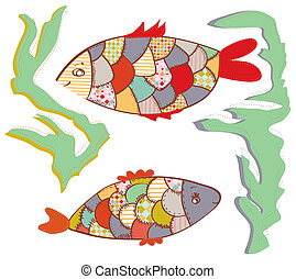 Patchwork fishes in the water funny design set