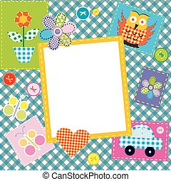 Patchwork for kids with childish sewed elements and frame