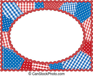 Patchwork Frame, Red, White, Blue