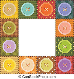 patchwork frame with buttons