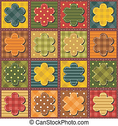 patchwork, fundo, com, flores