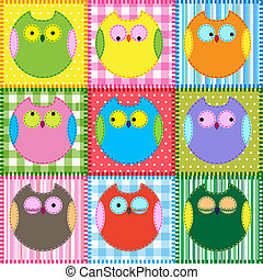 patchwork, gufi, fondo, colorito