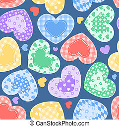 Patchwork hearts on the blue. - Patchwork hearts. Semless...