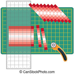 Patchwork: How to Do it Yourself. Cut sewn cloth strips, reorganize into patterns and designs with transparent ruler, rotary blade cutter on cutting mat , for arts, crafts, sewing, quilting, applique, diy projects.