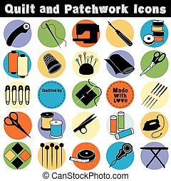 patchwork, icocns, colcha