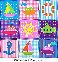 Patchwork in marine style. Seamless baby background