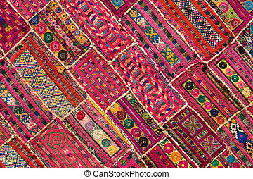 patchwork, indianas, rajasthan, ásia, tapete