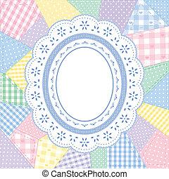 patchwork, laccio, doily, trapunta, cornice