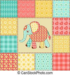 patchwork, modèle, éléphant
