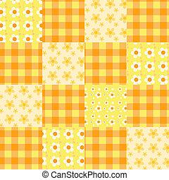 patchwork, modello, orange., seamless