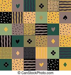 patchwork, modello, seamless, colorito
