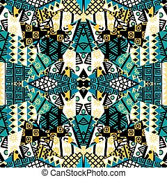Patchwork mosaic with african ethnic motifs