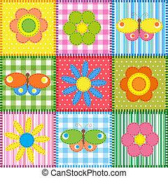 patchwork, motyle, kwiaty