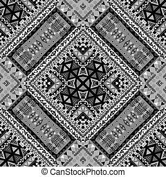 patchwork, noir ethnique, conception, blanc