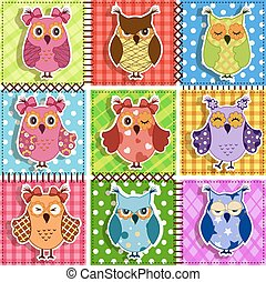 patchwork, owls.