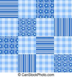 patchwork, padrão, seamless, blue.