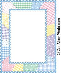 patchwork, pastel, édredon, cadre