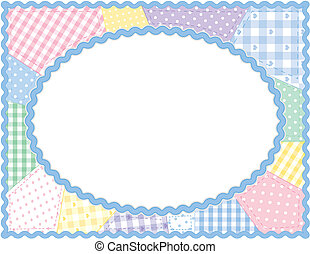 patchwork, pastello, trapunta, cornice