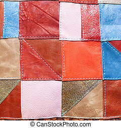 patchwork pattern from various leather pieces