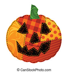 Jack-o-lantern made out of stitched fabric swatches