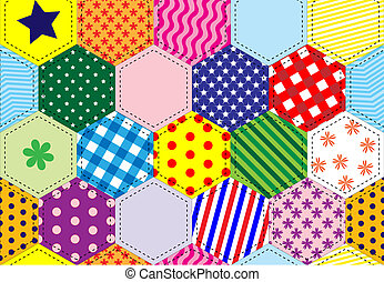 A vector illustration of a patchwork quilt background in bright colours