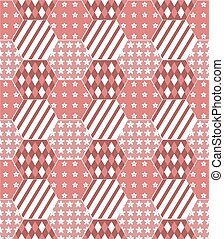 patchwork quilt background in shades of red