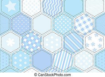 Patchwork quilt blue