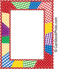 Patchwork Quilt Frame - Gingham and polka dot quilted...