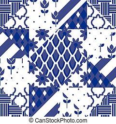 Patchwork quilt vector pattern tiles.