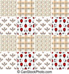 Patchwork seamless pattern kids ladybug background