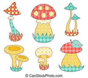 patchwork, set., isolé, champignon