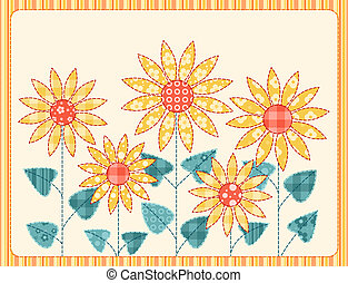 Patchwork sunflowers card.