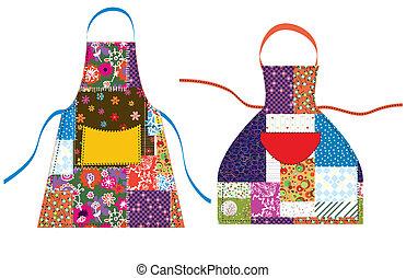 patchwork, tekstylny, wystawiany zamiar, fartuchy