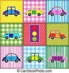 Patchwork with cartoon cars. Babies background