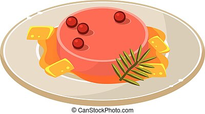 Pate with Basil and Berries on a Plate. Vector Illustration