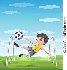 patear, atleta, pelota, joven, futbol