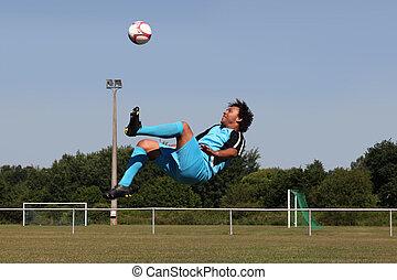patear, pelota, futbolista