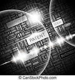 PATENT. Background concept wordcloud illustration. Print...
