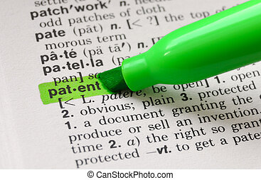 The word patent highlighted in a dictionary.