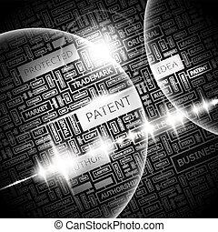 PATENT. Background concept wordcloud illustration. Print...