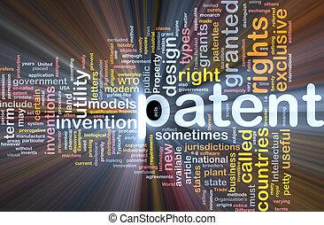 patent, glühen, begriff, knochen, hintergrund
