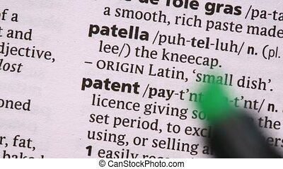 Patent highlighted in green in the dictionary