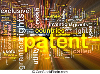 Background concept wordcloud illustration of patent glowing light