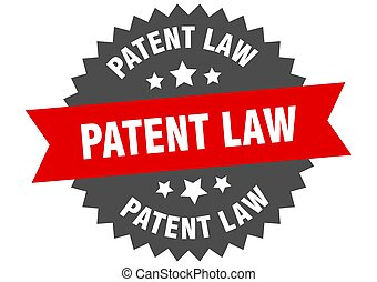 patent law round isolated ribbon label. patent law sign