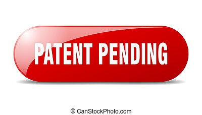 patent pending button. sticker. banner. rounded glass sign...