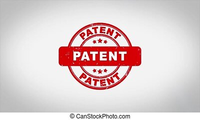 Patent Signed Stamping Text Wooden Stamp Animation. Red Ink on Clean White Paper Surface Background with Green matte Background Included.