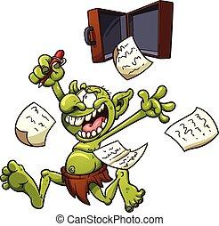 Patent troll - Crazy patent troll. Vector clip art...