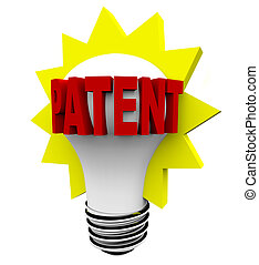 Patent Word on Light Bulb - The word Patent in red letters...